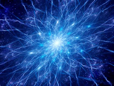 cellule nervose: Colorful conncections incandescente nello spazio, sinapsi, computer generato astratto
