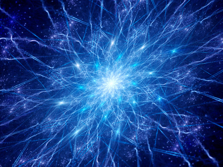Kleurrijke gloeiende conncections in de ruimte, synapsen, computer gegenereerde abstracte achtergrond Stockfoto