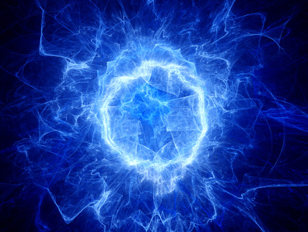 Blue glowing round shape energy field, computer generated abstract background