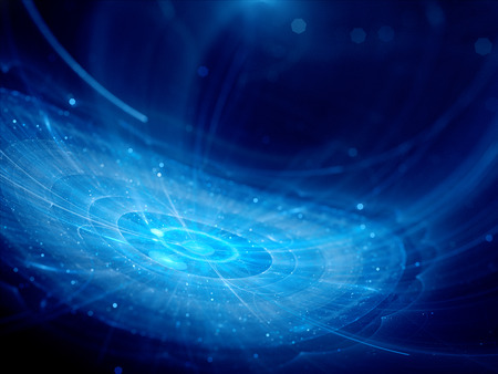 silicon: Blue glowing futuristic city in space, computer generated abstract background