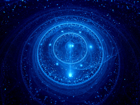 galactic: Blue glowing galactic clock fractal, computer generated abstract background
