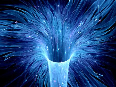gravedad: Agujero de gusano azul brillante en el espacio, la urdimbre interestelar, generado por ordenador resumen de antecedentes fractal Foto de archivo