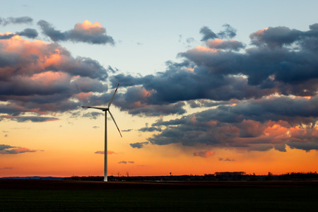 wind power plant: Wind power plant in sunset