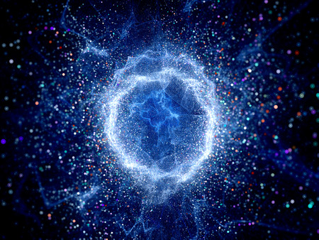 Blue glowing torus shape high energy field, computer generated abstract background
