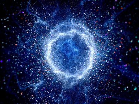 Blau leuchtende Torusform hohen Energiefeld, Computer generiert abstrakte Hintergrund