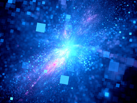 Blue glowing square particles in deep space, computer generated abstract background 版權商用圖片