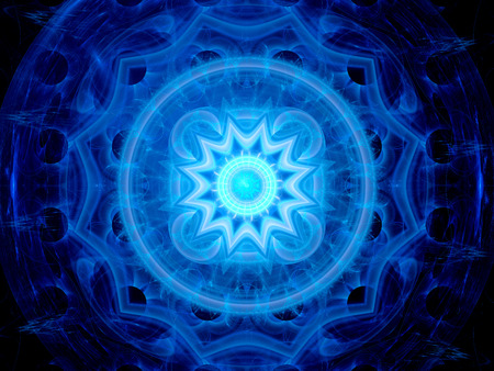 Blue glowing magical space mandala, computer generated abstract background photo