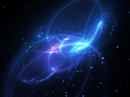 Magical blue glowing curves with particles in deep space, computer generated abstract background