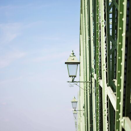 laps: Stylish old laps on green iron bridge Stock Photo