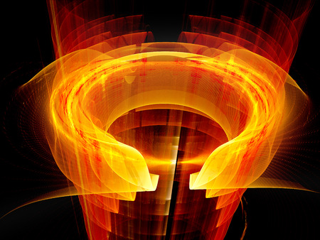 physics: Glowing fiery plasma fields, new technology, computer generated abstract background Stock Photo