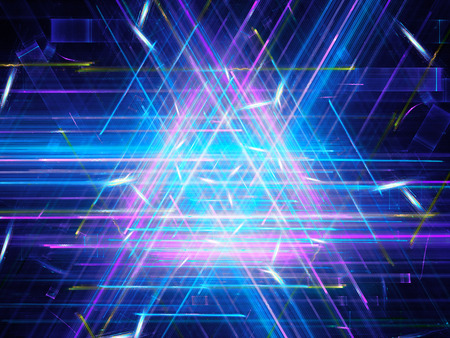 sci: Glowing multicolored triangle, computer generated abstract background Stock Photo