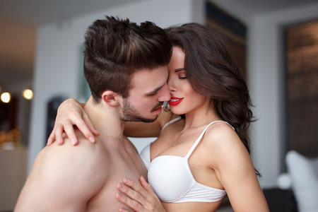 nude wife: Sexy couple foreplay at home hot milf with young lover Stock Photo