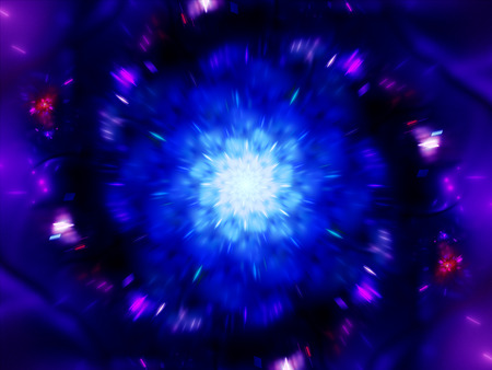 zoomed: Magical zoomed glowing mandala in space computer generated abstract background Stock Photo