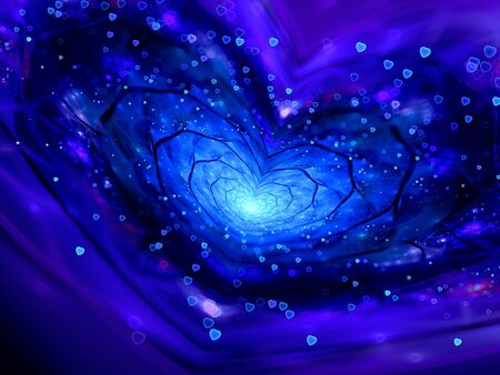 pleiades: Magical heart shape spiral in space fractal with particles, computer generated abstract background Stock Photo