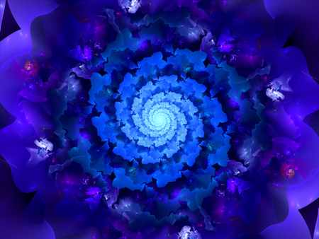 blue spiral: Magic blue spiral fractal in space, computer generated abstract background