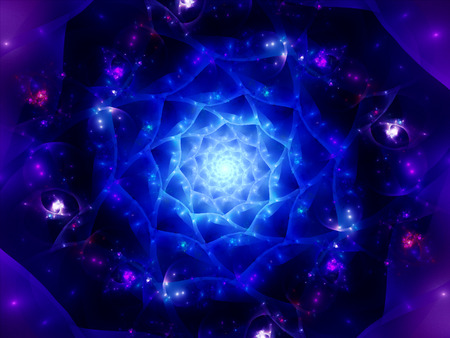 Magical glowing space mandala computer generated abstract background