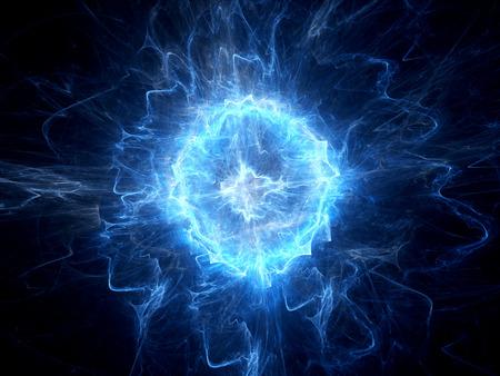 Bleu ordinateur éclatante boule de foudre généré abstrait