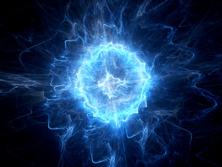 physics: Blue glowing ball lightning computer generated abstract background Stock Photo