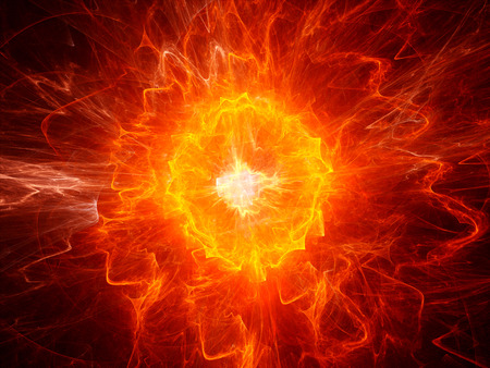 Fiery ball lightning computer generated abstract fractal background