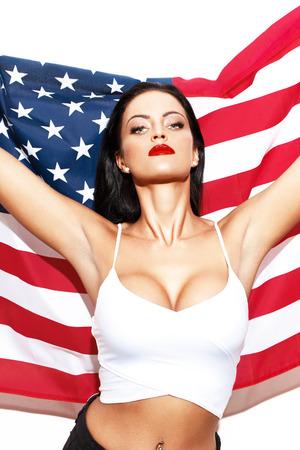 アメリカ国旗星条旗独立記念日 7 月 4 日でセクシーな女性 写真素材