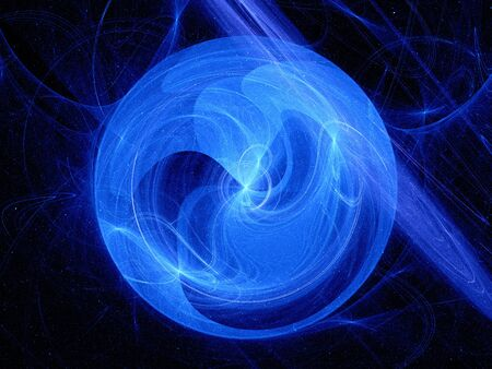 spin: Blue glowing fractal spin in space, computer generated abstract background