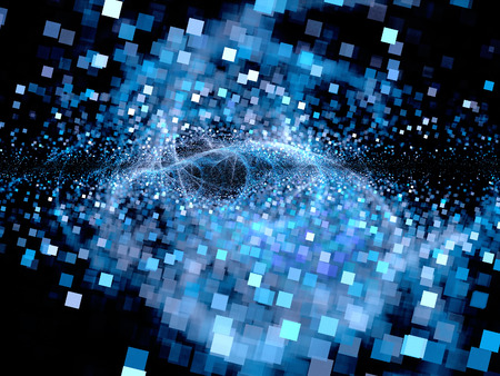 미래 기술의 빅뱅, 컴퓨터 생성 추상적 인 배경, 광장 입자 스톡 콘텐츠
