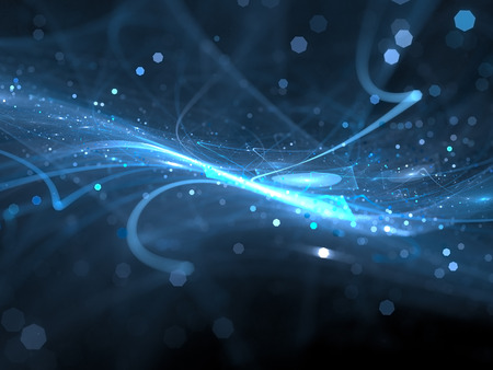 Blue glowing new technology in space, computer generated abstract background 스톡 콘텐츠