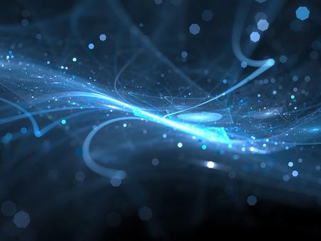 공간에서 파란색 빛나는 새로운 기술, 컴퓨터 추상적 인 배경