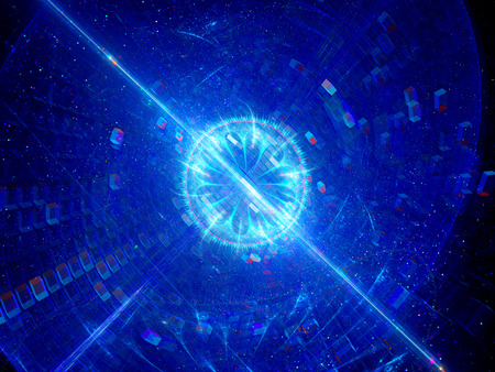 light source: Blue glowing blast of technology, computer generated abstract background Stock Photo