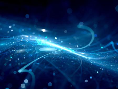深宇宙で青い光る新技術、コンピューター生成された抽象的な背景