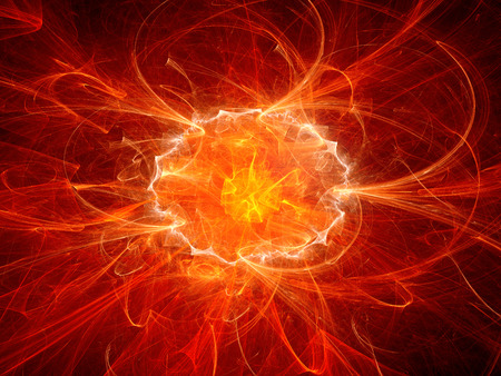 chaos theory: Red fiery explosion in space, computer generated abstract background Stock Photo
