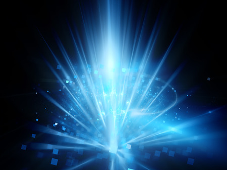 blue design: Blue glowing new technology background with rays and particles, computer generated abstract background