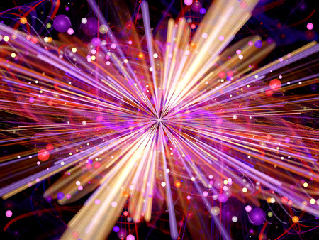 Glowing fission fractal, Higgs boson, computer generated abstract background
