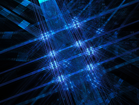 internet speed: Blue glowing lines and squares, new technology, computer generated abstract background
