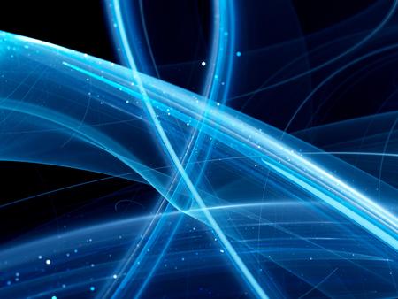 Blau leuchtende Kurven, neue Technologien, Computer generiert abstrakte Hintergrund