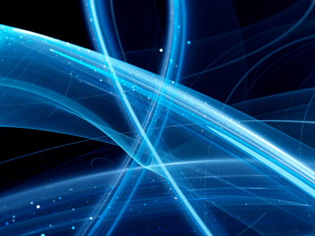 Blue glowing curves, new technology, computer generated abstract background