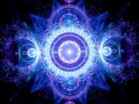 Blue glowing mandala fractal, computer generated abstract background Standard-Bild
