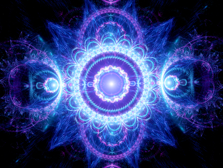 Blue glowing mandala fractal, computer generated abstract background Stok Fotoğraf