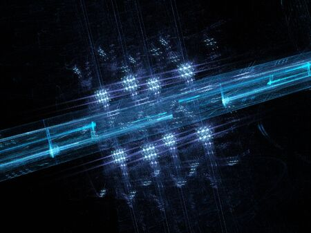abstract design elements: Blue glowing futuristic background, new technology, computer generated abstract background