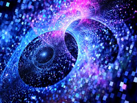 青光る multiverses スペース、正方形のパーティクル、大きなデータ、コンピューター生成された抽象的な背景 写真素材