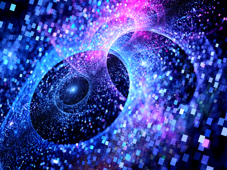 Bleu brillant multivers dans l'espace, les particules carrés, grandes données, généré par ordinateur abstrait