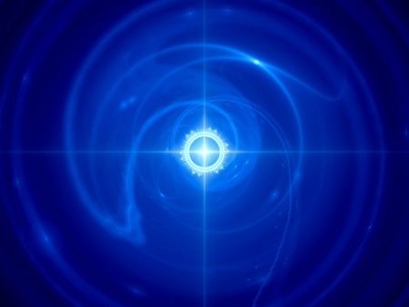 time machine: Blue glowing time machine in space, computer generated abstract background Stock Photo
