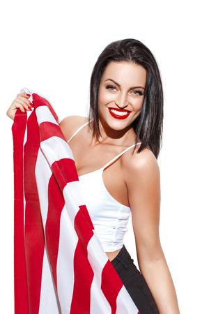 spangled: Sexy woman with usa flag, star spangled banner, independence day, 4th july Stock Photo
