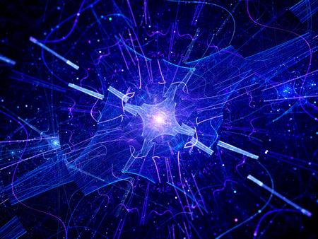 多次元青い光る量子ソース、コンピューター生成されたフラクタル背景