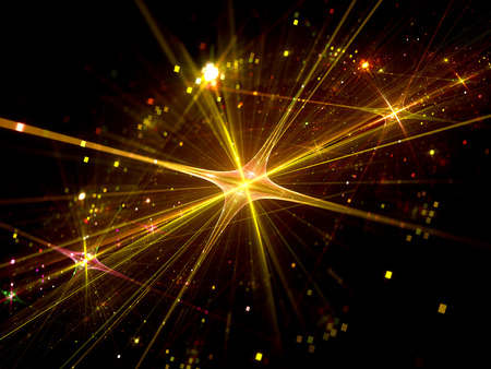 Shiny gold star with particles in space, computer generated abstract background