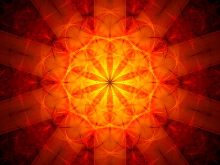 alight: Red mandala in space, computer generated abstract background Stock Photo