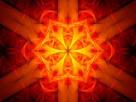 fiery: Glowing fiery mandala in space, computer generated abstract background