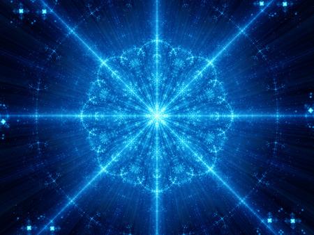 astrologie: Blau leuchtende Schneeflocke Form Mandala Fraktal, Computer generiert abstrakte Hintergrund Lizenzfreie Bilder