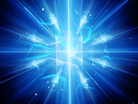 inteligencia: la inteligencia artificial azul brillante con los rayos y partículas, generadas por ordenador resumen de antecedentes