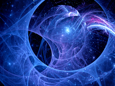 fractal background: Blue glowing trajectories in space, computer generated abstract background